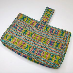 1970s Embroidered Woven Handbag / Purse One Size